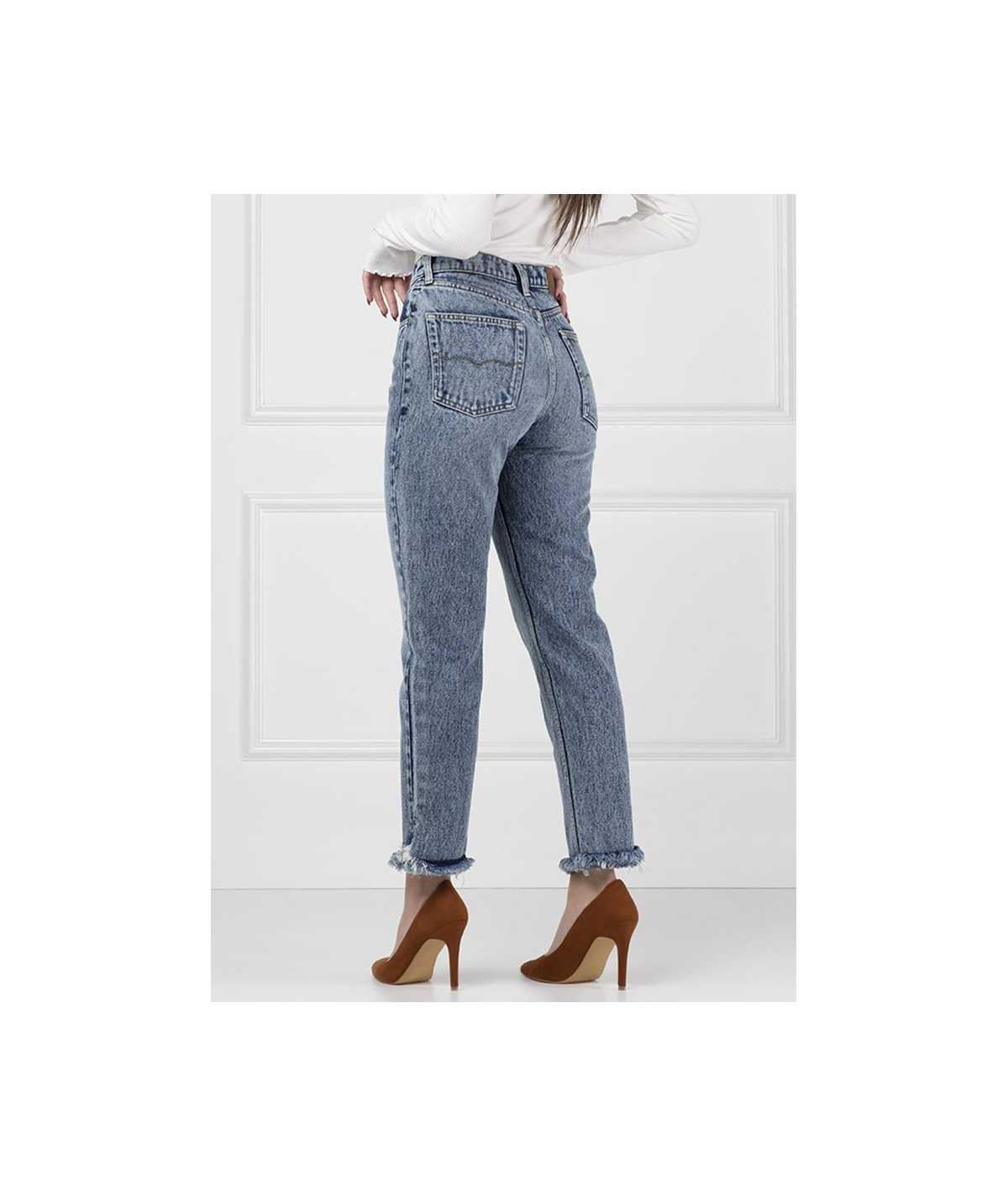 Pormenores Calças slim tapered Mom jeans - My Love Aly John